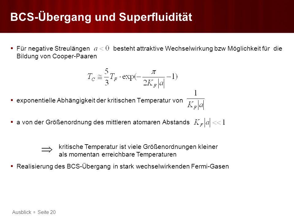 BCS-Übergang und Superfluidität