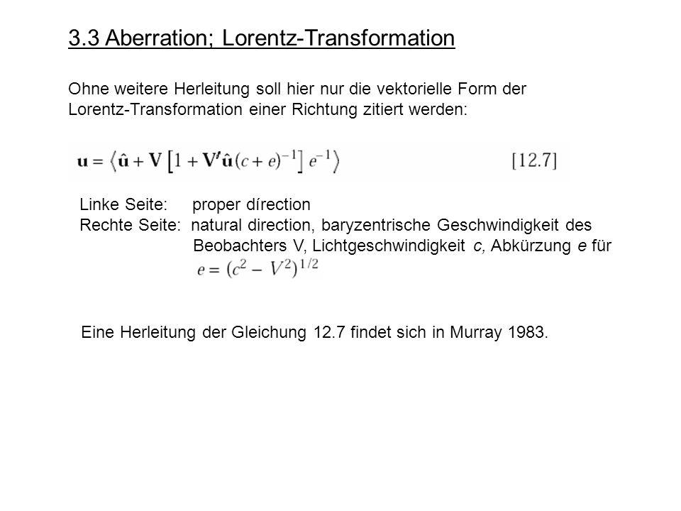 3.3 Aberration; Lorentz-Transformation