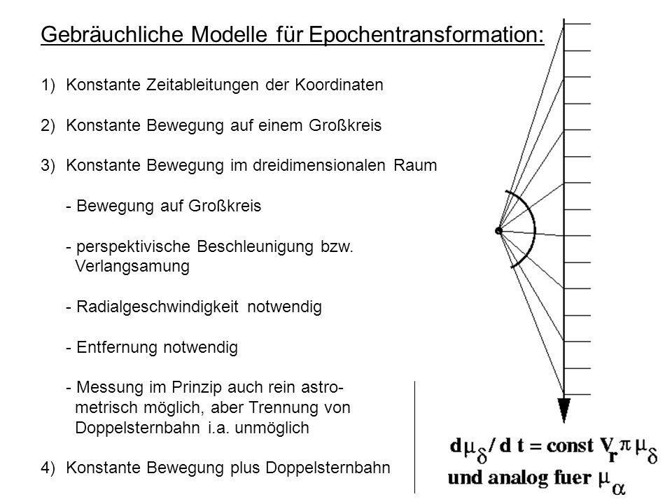 Gebräuchliche Modelle für Epochentransformation: