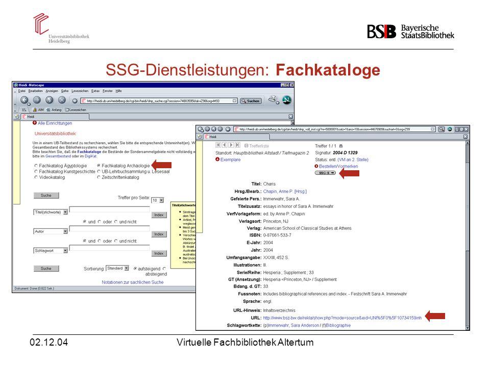 SSG-Dienstleistungen: Fachkataloge