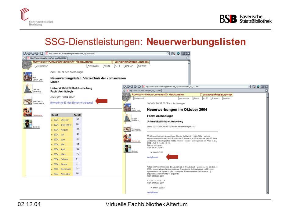 SSG-Dienstleistungen: Neuerwerbungslisten