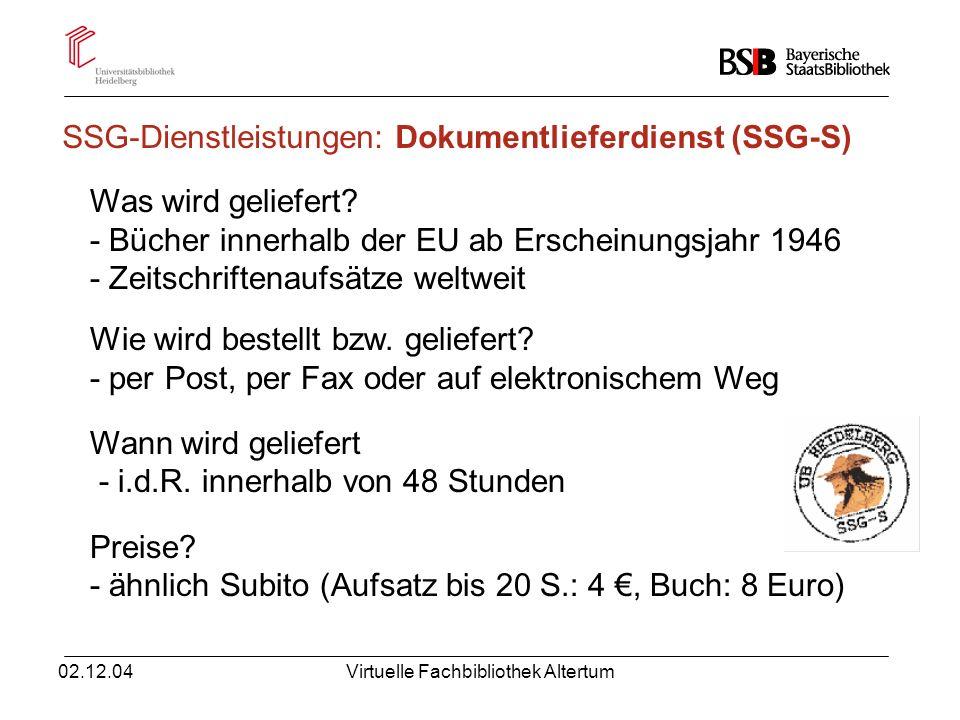 SSG-Dienstleistungen: Dokumentlieferdienst (SSG-S)