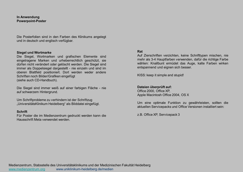 In Anwendung Powerpoint-Poster. Die Posterfolien sind in den Farben des Klinikums angelegt und in deutsch und englisch verfügbar.
