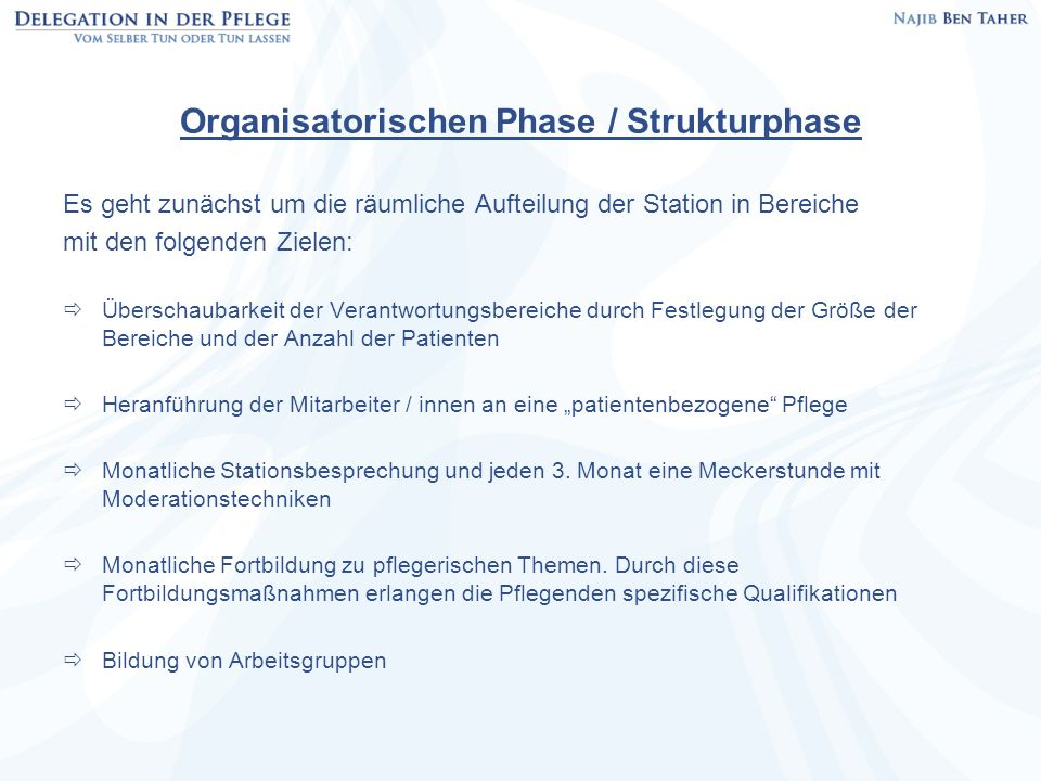 Organisatorischen Phase / Strukturphase