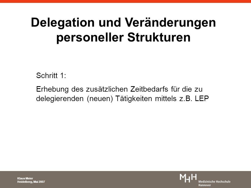 Delegation und Veränderungen personeller Strukturen