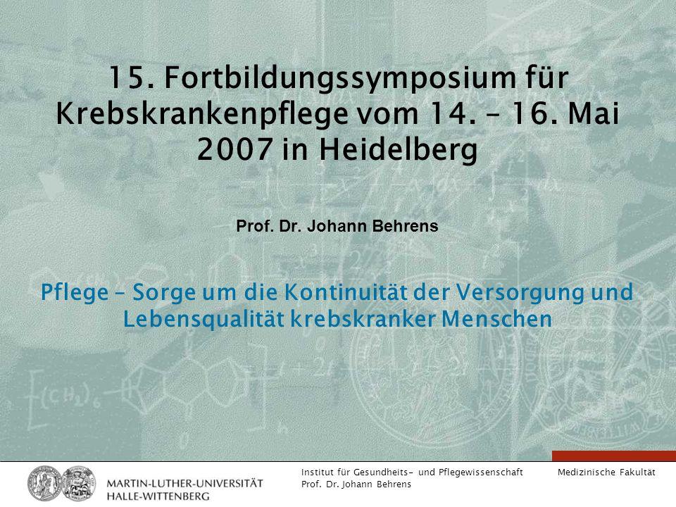 15. Fortbildungssymposium für Krebskrankenpflege vom 14. – 16