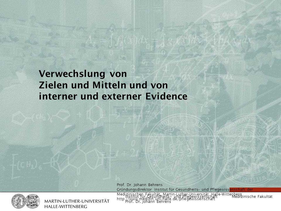 Verwechslung von Zielen und Mitteln und von interner und externer Evidence