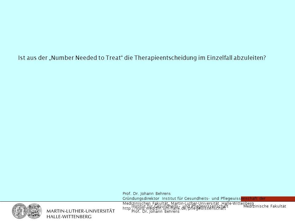 """Ist aus der """"Number Needed to Treat die Therapieentscheidung im Einzelfall abzuleiten"""