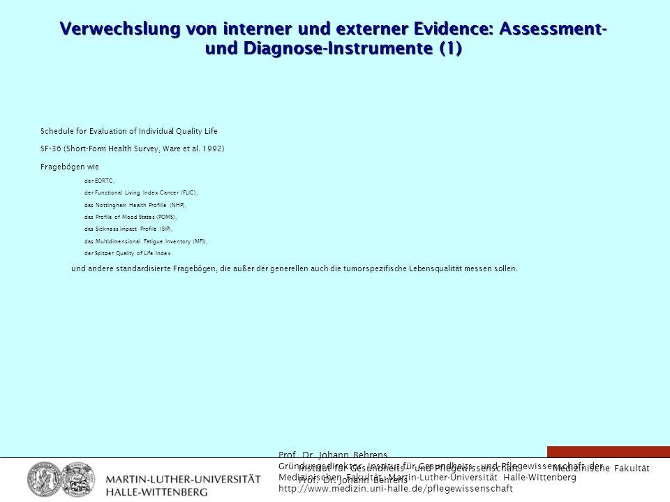 Verwechslung von interner und externer Evidence: Assessment- und Diagnose-Instrumente (1)