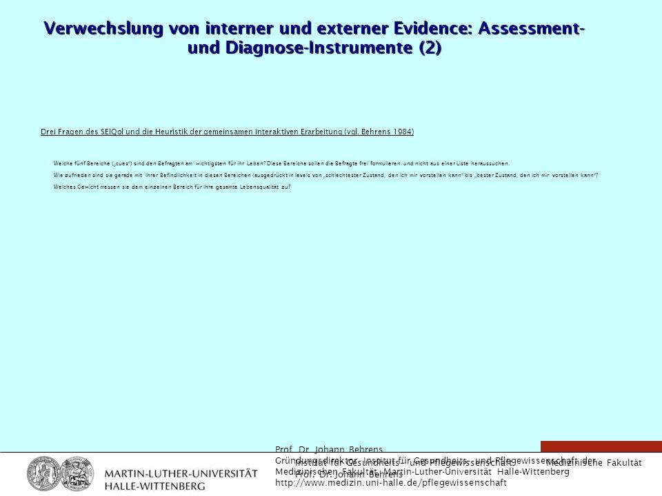 Verwechslung von interner und externer Evidence: Assessment- und Diagnose-Instrumente (2)