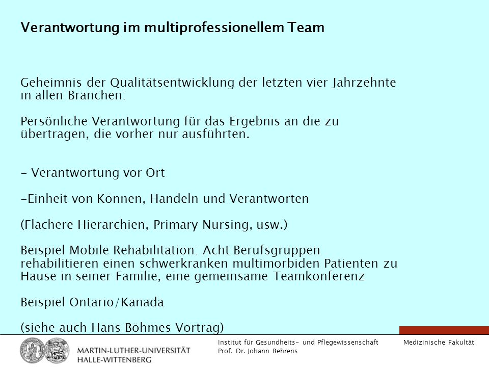 Verantwortung im multiprofessionellem Team