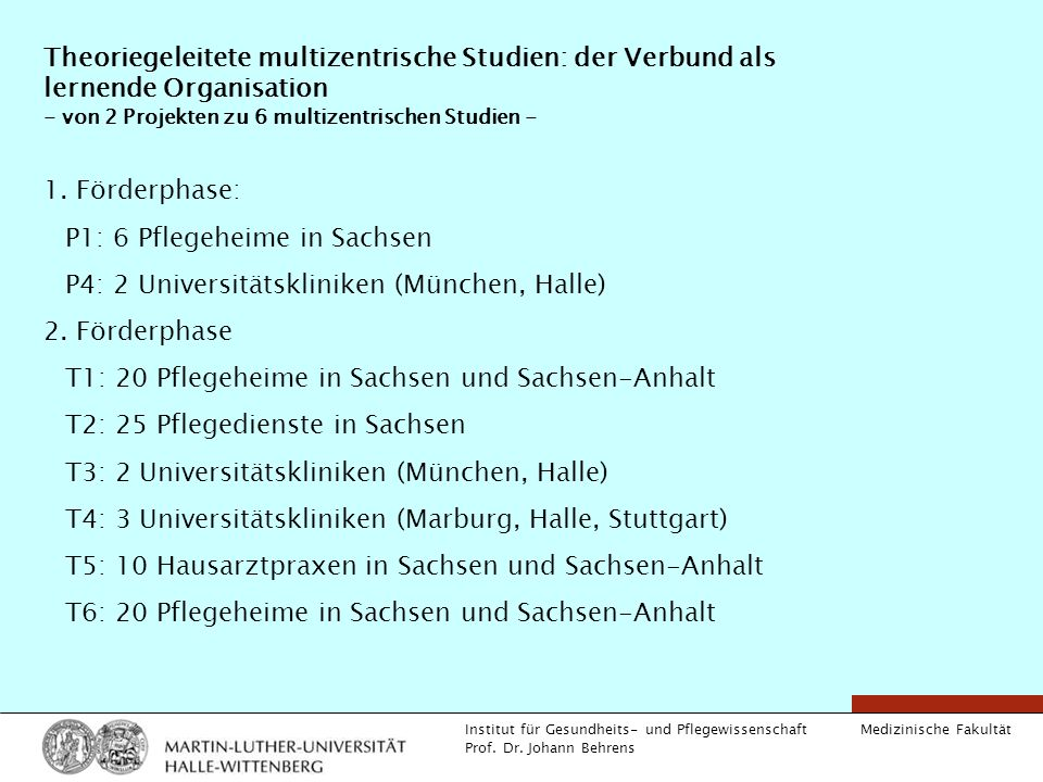 Theoriegeleitete multizentrische Studien: der Verbund als lernende Organisation - von 2 Projekten zu 6 multizentrischen Studien -