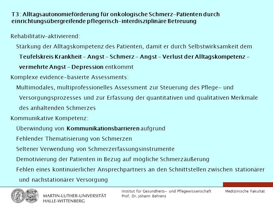 T3: Alltagsautonomieförderung für onkologische Schmerz-Patienten durch einrichtungsübergreifende pflegerisch-interdisziplinäre Betreuung