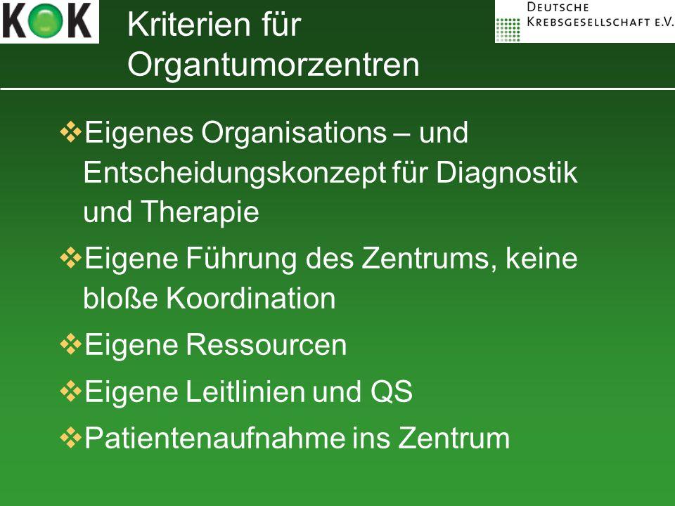 Kriterien für Organtumorzentren
