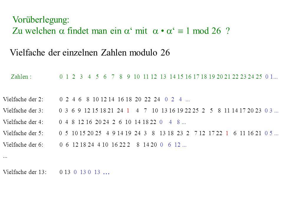 Zu welchen  findet man ein ' mit  • '  1 mod 26