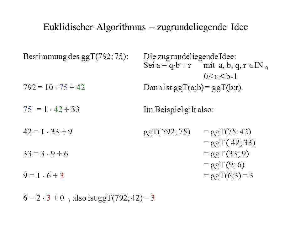 Euklidischer Algorithmus – zugrundeliegende Idee