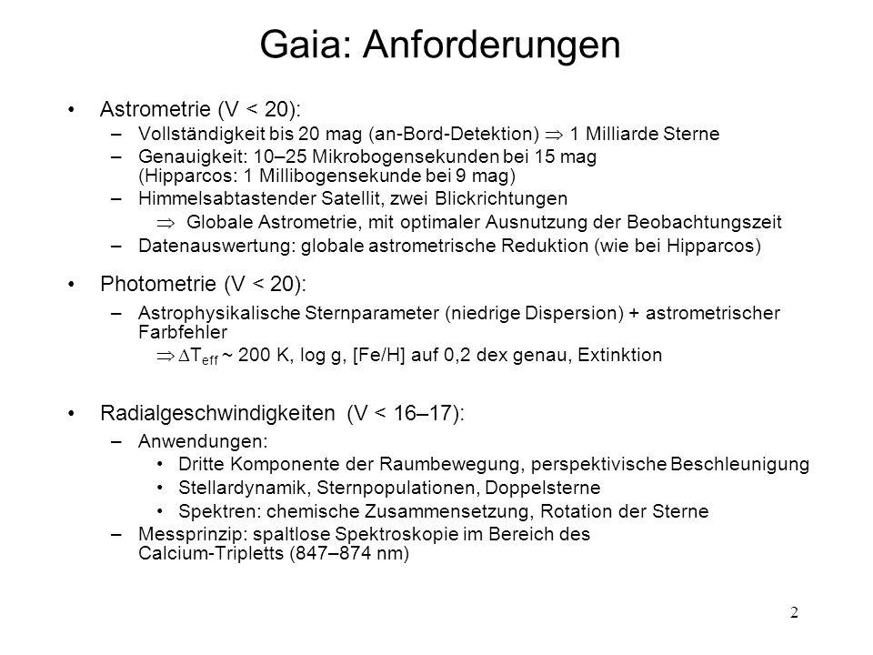 Gaia: Anforderungen Astrometrie (V < 20): Photometrie (V < 20):