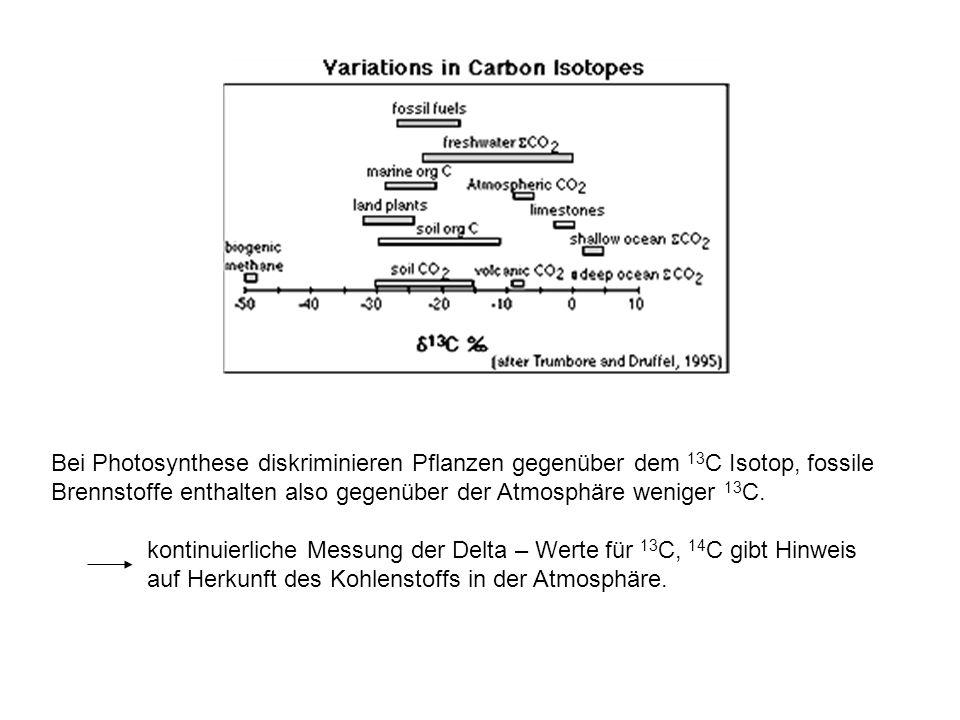 Bei Photosynthese diskriminieren Pflanzen gegenüber dem 13C Isotop, fossile