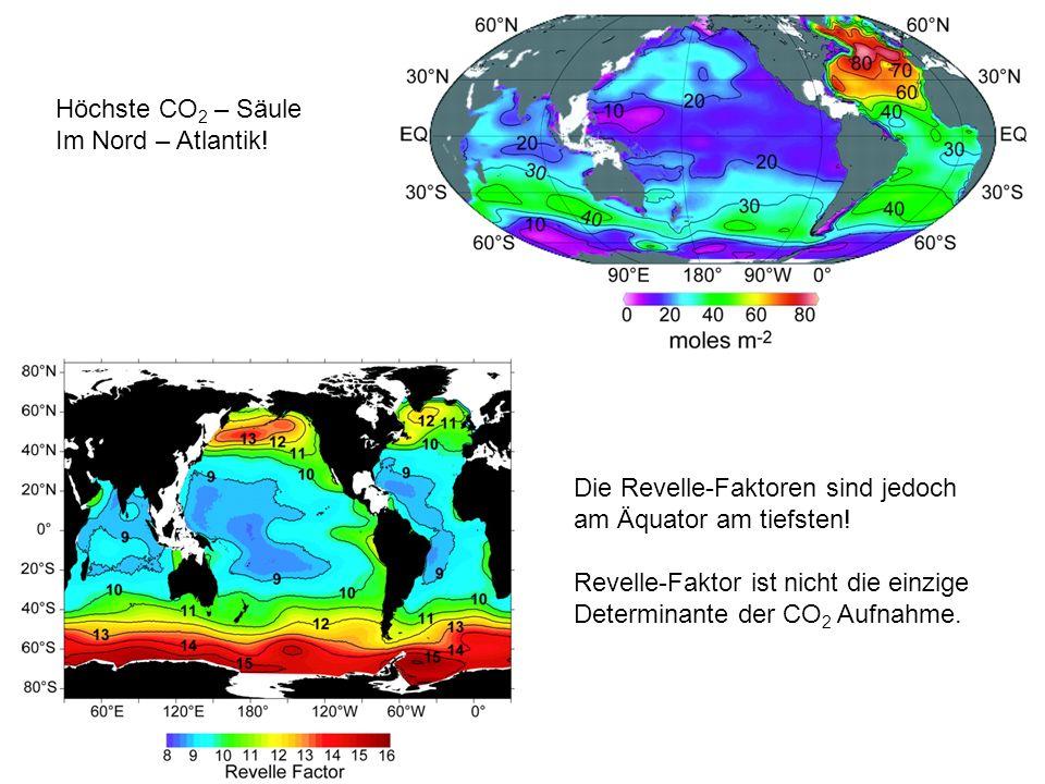 Höchste CO2 – Säule Im Nord – Atlantik! Die Revelle-Faktoren sind jedoch. am Äquator am tiefsten!