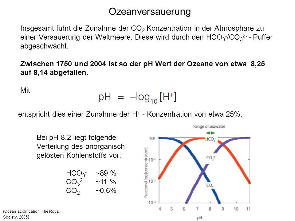 Ozeanversauerung Insgesamt führt die Zunahme der CO2 Konzentration in der Atmosphäre zu.