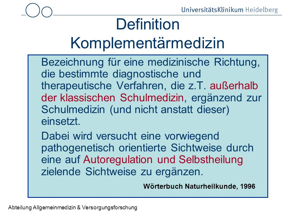 Definition Komplementärmedizin