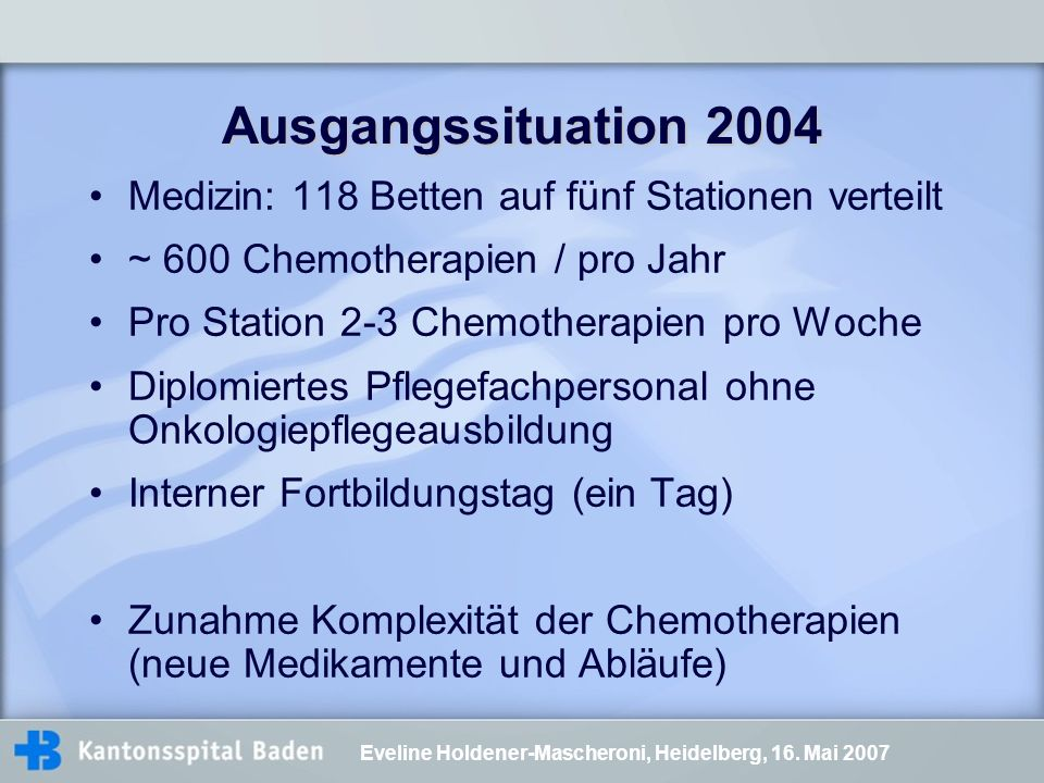 Ausgangssituation 2004 Medizin: 118 Betten auf fünf Stationen verteilt