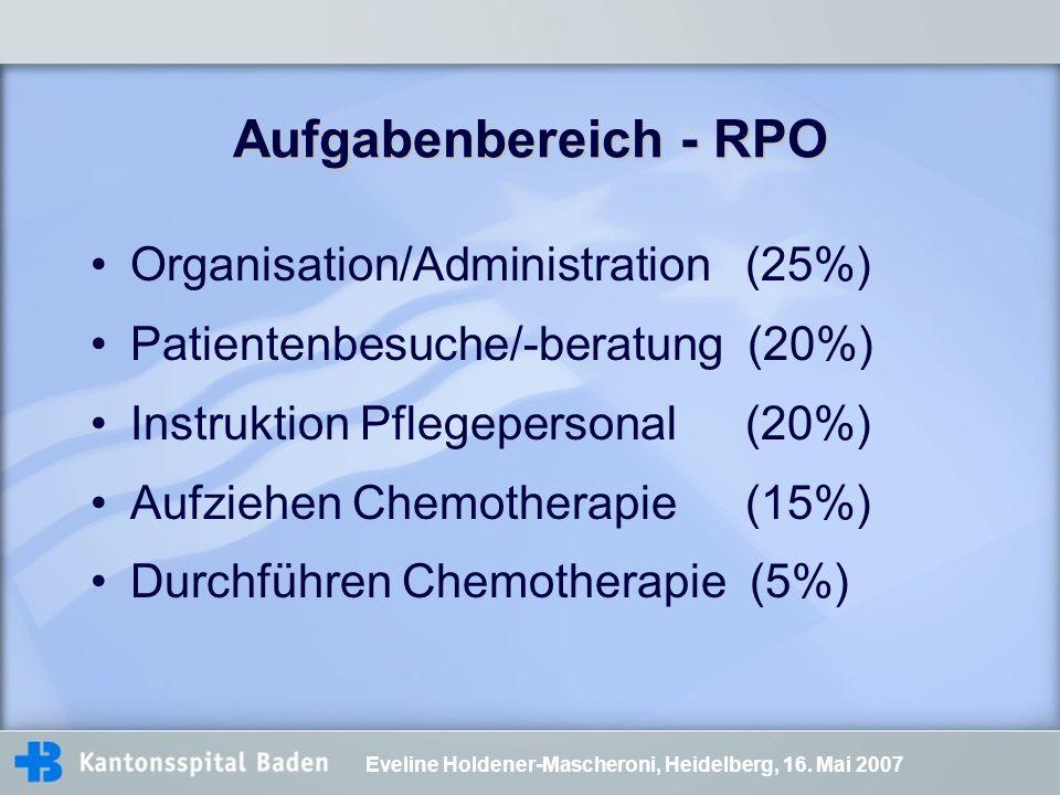 Aufgabenbereich - RPO Organisation/Administration (25%)