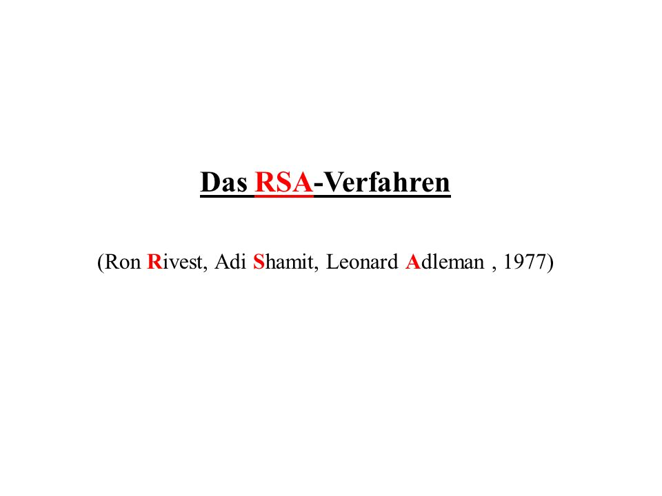 (Ron Rivest, Adi Shamit, Leonard Adleman , 1977)