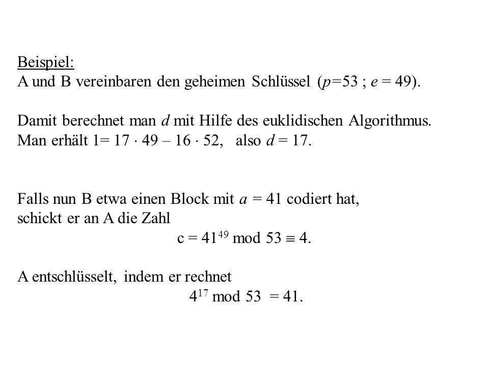 Beispiel: A und B vereinbaren den geheimen Schlüssel (p=53 ; e = 49). Damit berechnet man d mit Hilfe des euklidischen Algorithmus.