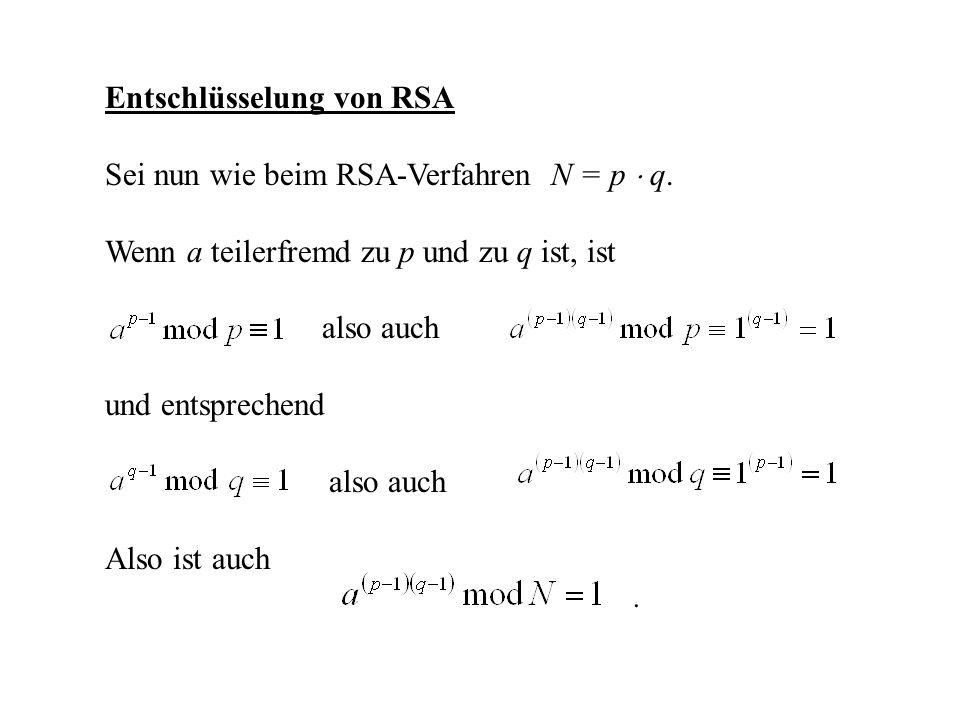 Entschlüsselung von RSA