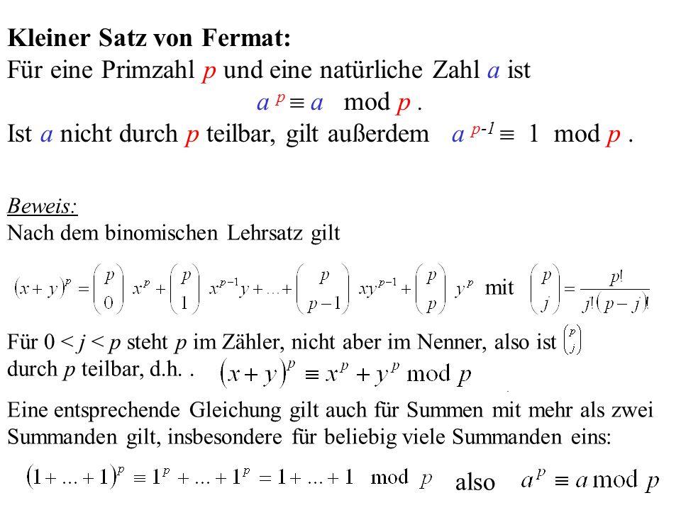 Kleiner Satz von Fermat: