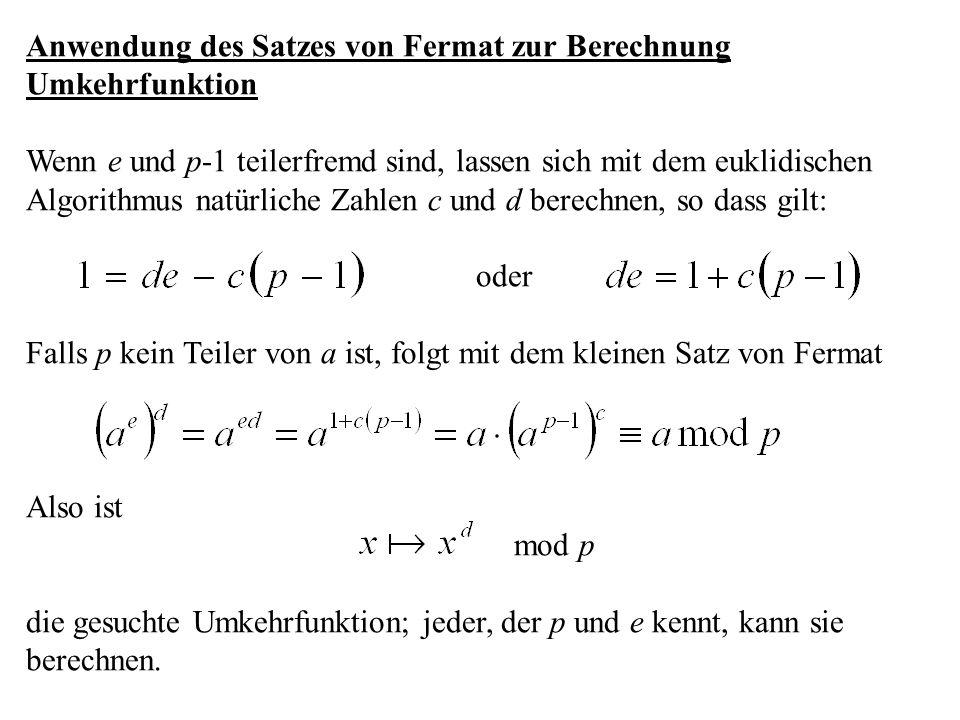 Anwendung des Satzes von Fermat zur Berechnung Umkehrfunktion