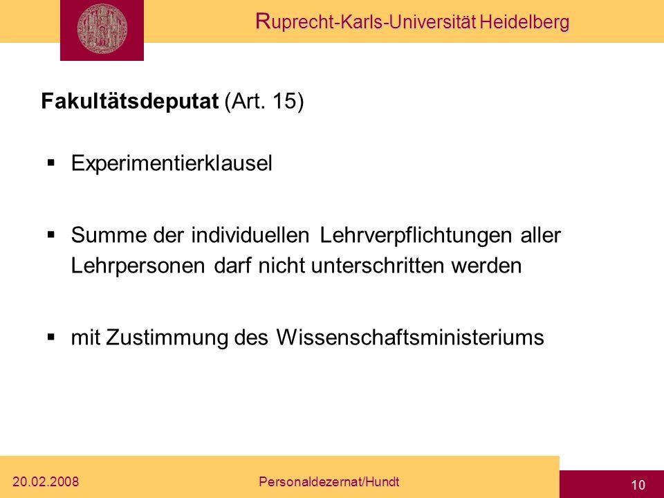 Fakultätsdeputat (Art. 15)