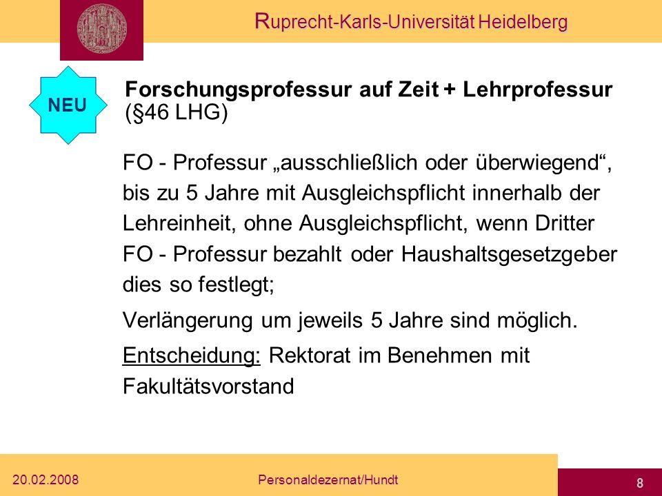 Forschungsprofessur auf Zeit + Lehrprofessur (§46 LHG)