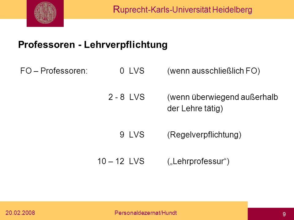 Professoren - Lehrverpflichtung