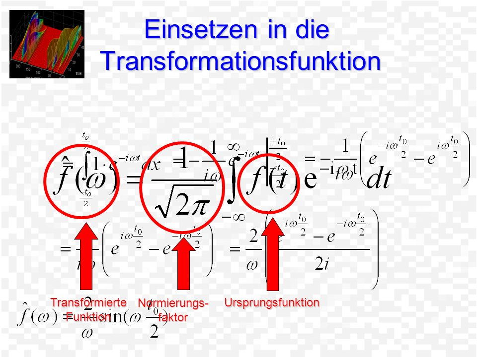 Einsetzen in die Transformationsfunktion