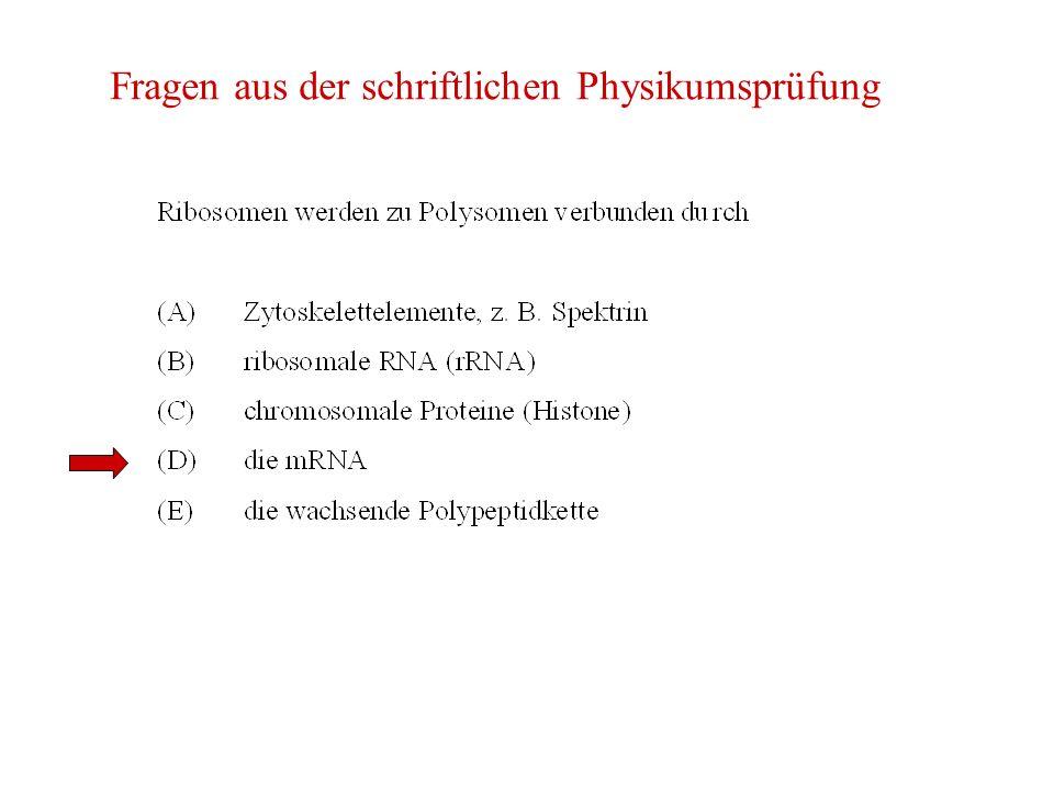 Fragen aus der schriftlichen Physikumsprüfung