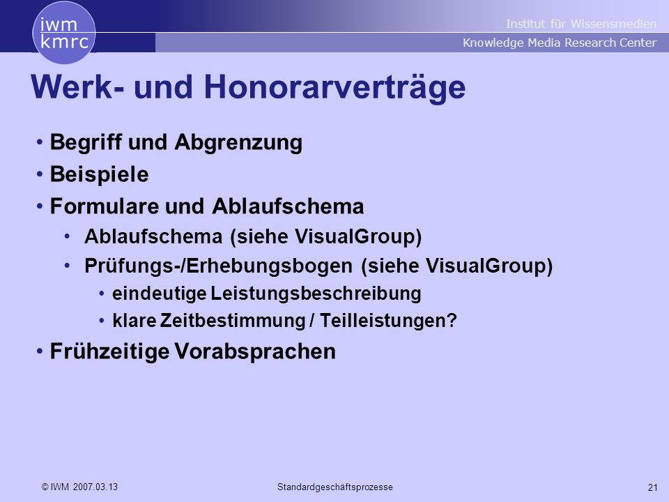 Werk- und Honorarverträge