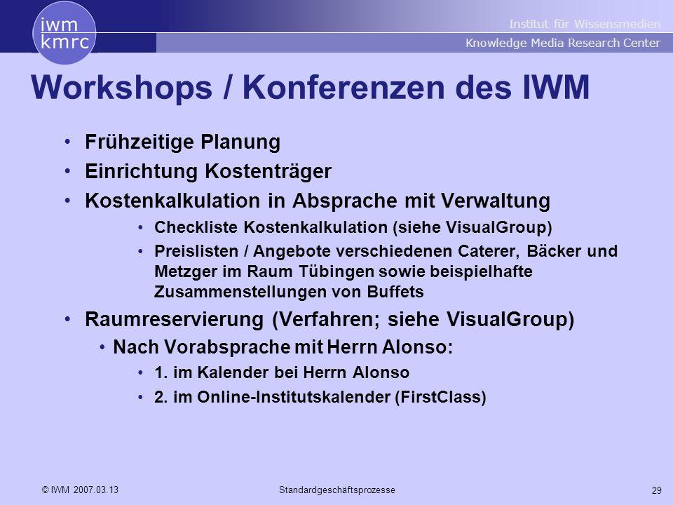 Workshops / Konferenzen des IWM