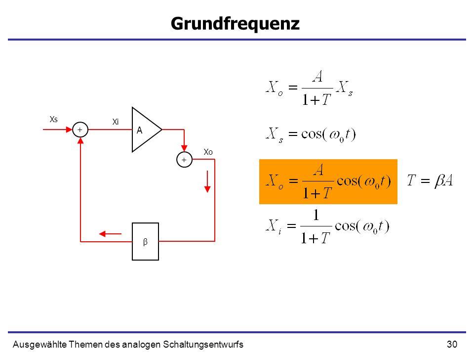 Grundfrequenz A Ausgewählte Themen des analogen Schaltungsentwurfs Xs