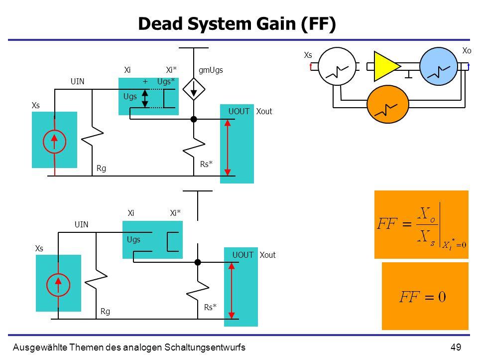 Dead System Gain (FF) Xo. Xs. Xi. Xi* gmUgs. UIN. + Ugs* Ugs. Xs. UOUT. Xout. Rs* Rg. Xi.