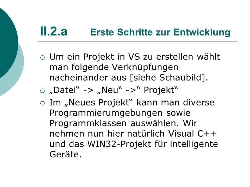 II.2.a Erste Schritte zur Entwicklung