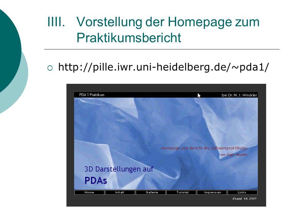IIII. Vorstellung der Homepage zum Praktikumsbericht