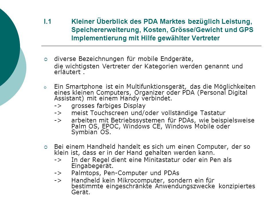 I. 1. Kleiner Überblick des PDA Marktes bezüglich Leistung,