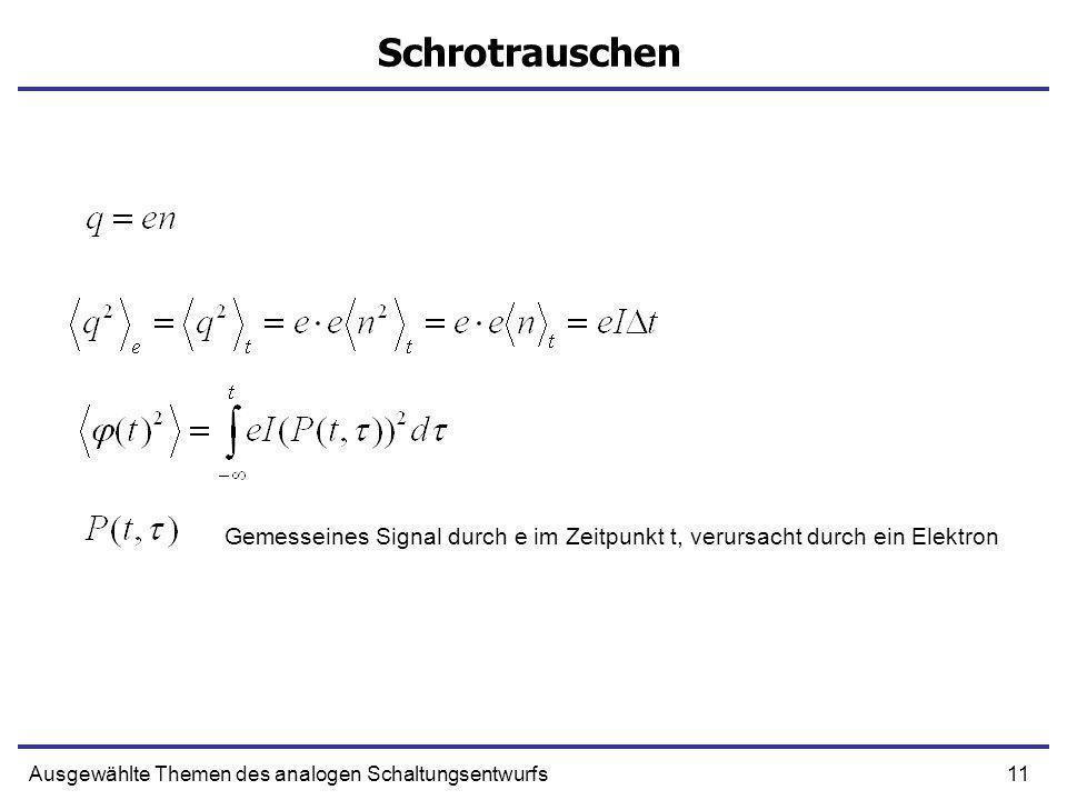 Schrotrauschen Gemesseines Signal durch e im Zeitpunkt t, verursacht durch ein Elektron.