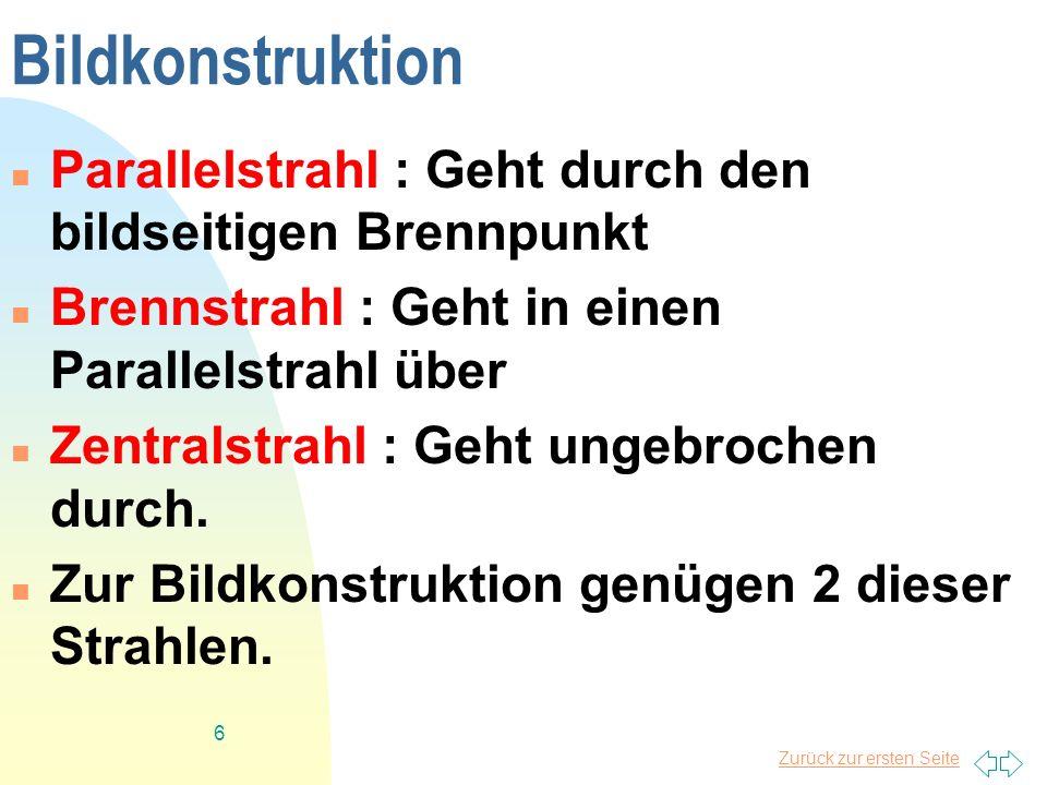 Bildkonstruktion Parallelstrahl : Geht durch den bildseitigen Brennpunkt. Brennstrahl : Geht in einen Parallelstrahl über.