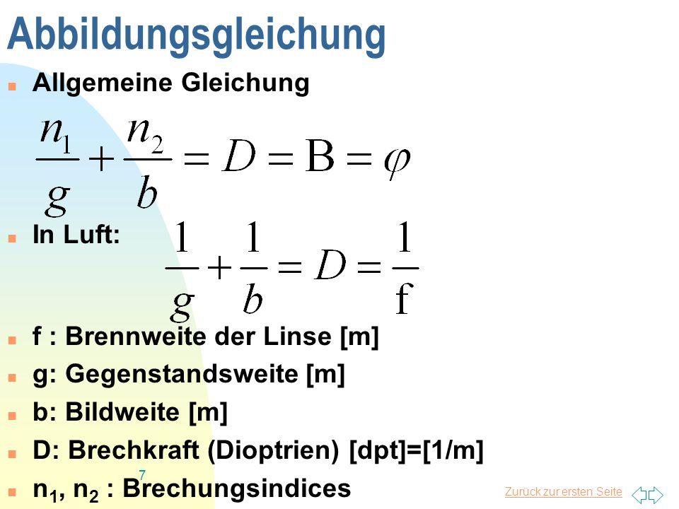 Abbildungsgleichung Allgemeine Gleichung In Luft: