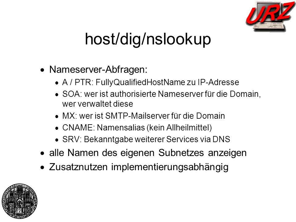 host/dig/nslookup Nameserver-Abfragen: