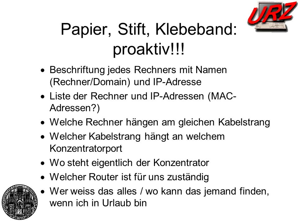 Papier, Stift, Klebeband: proaktiv!!!