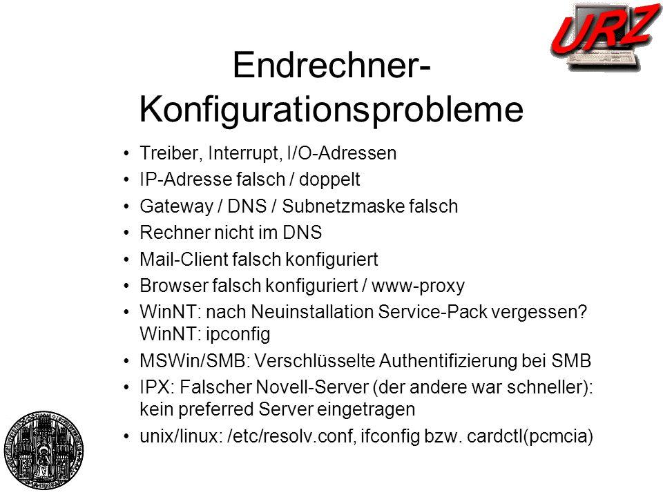 Endrechner-Konfigurationsprobleme